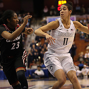 Kia Nurse, (right), UConn, defended by Jasmine Whitfield, Cincinnati, during the UConn Vs Cincinnati Quarterfinal Basketball game at the American Women's College Basketball Championships 2015 at Mohegan Sun Arena, Uncasville, Connecticut, USA. 7th March 2015. Photo Tim Clayton