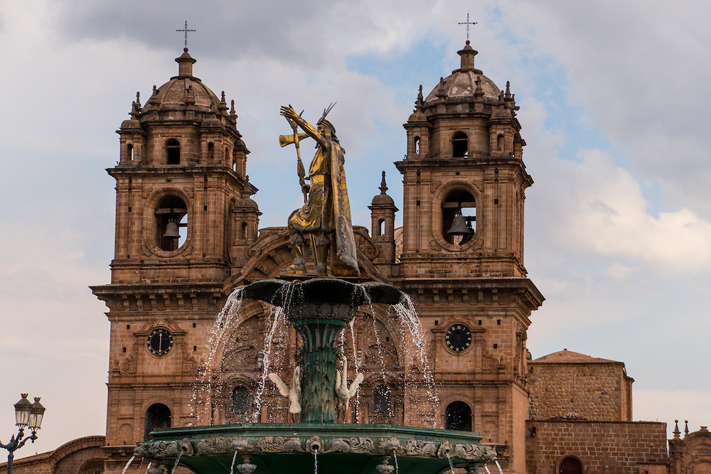 The Statue of Pachacuti at the Plaza de Armas is located in Cusco, Peru.  Pachacuti was the ninth ruler of the Kingdom of Cusco and later the Emperor of the Inca Empire.  Machu Picchu is believed to have been built as an estate for him.