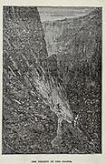 The Descent of the Crater from the book ' A journey to the centre of the earth ' by Jules Verne (1828-1905) Published in New York by Scribner, Armstrong & co 1874