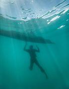 Man named Tobel fishing for coral fish, giant clams and scallops, off Boheydulang island.
