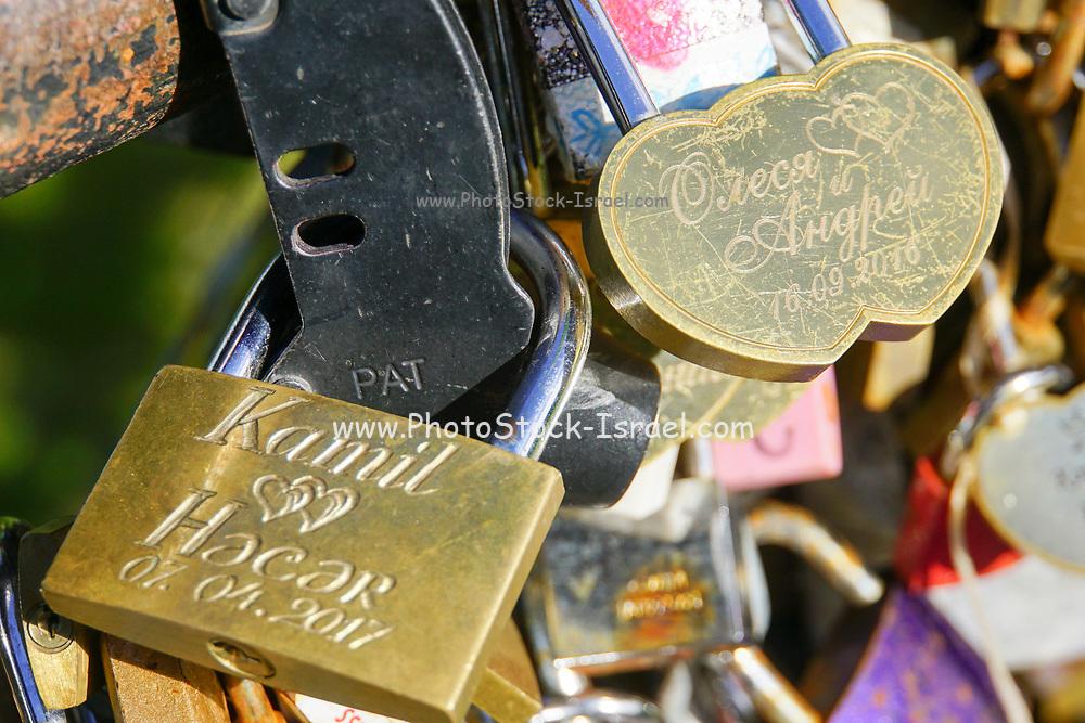 Lovelocks on a bridge in Riga, Latvia