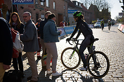 Joëlle Numainville chats with fans at Women's Gent Wevelgem 2017. A 145 km road race on March 26th 2017, from Boezinge to Wevelgem, Belgium. (Photo by Sean Robinson/Velofocus)