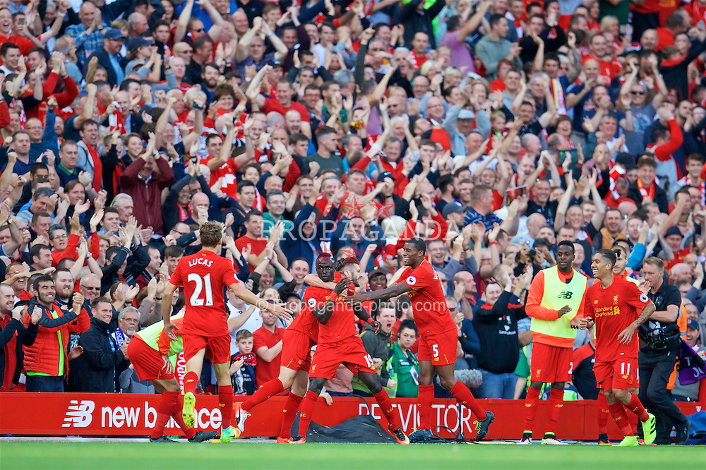 LIVERPOOL, ENGLAND - Saturday, September 10, 2016: Liverpool's Sadio Mane celebrates scoring the second goal against Leicester City during the FA Premier League match at Anfield. (Pic by David Rawcliffe/Propaganda)