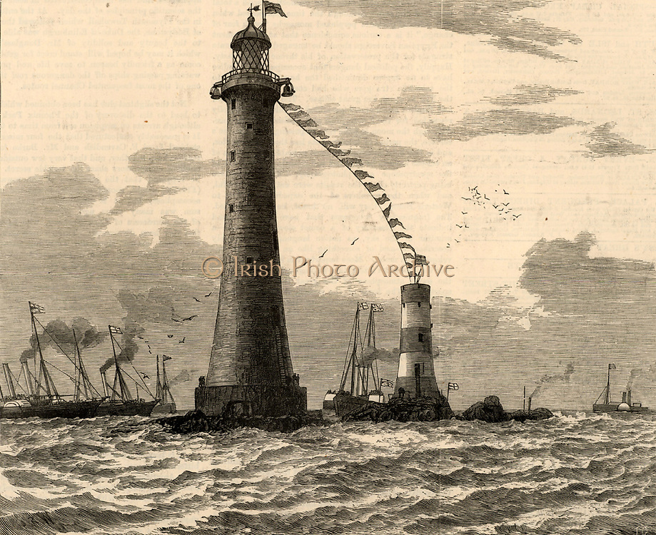 The fifth Eddystone lighthouse built on the Stone 13 miles South-east of Polperro, Cornwall, England.  Designed by James Douglas, engineer to Trinity House, and constructed between 1878 and 1882.  The Duke of Kent performing the opening ceremony.  The smaller building to the left is Smeaton's lighthouse. Engraving from 'The Illustrated London News' (London, 27 May 1892).