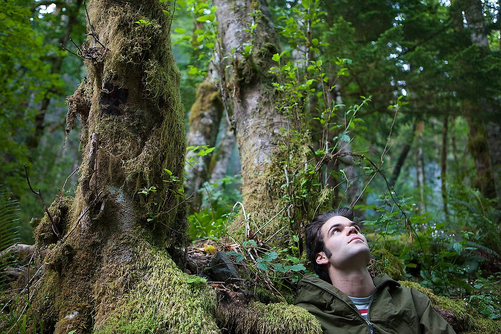 Hamilton Boyce contemplates the lush forest around him at Seven and a Half Mile Camp, along the Eagle Creek Trail, Columbia River Gorge National Scenic Area, Oregon.