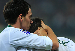Branko Ilic (18) and Zlatan Ljubijankic (9) at the fourth round qualification game of 2010 FIFA WORLD CUP SOUTH AFRICA in Group 3 between Slovenia and Northern Ireland at Stadion Ljudski vrt, on October 11, 2008, in Maribor, Slovenia.  (Photo by Vid Ponikvar / Sportal Images)