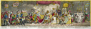 The Grand Coronation of Napleon Ist, Emperor of France, from the Church of Notre-Dame, 2 December 1804.  Gilray cartoon 1805. Dejected Pope Pius VII,  Emperor's train supported by Spain, Prussia and Holland.