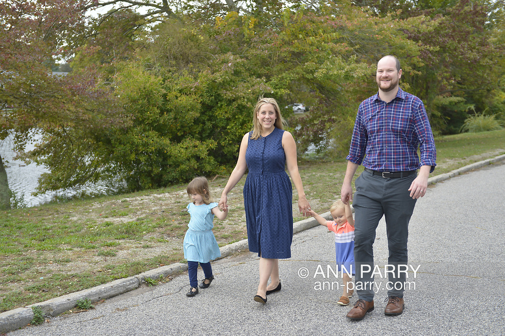 Long Island, New York, USA. October 15, 2017. Liuba Grechen Shirley is with husband Chris and their daughter and son.