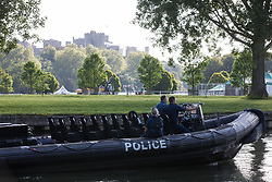 A police launch passes along the River Thames in front of Windsor Castle during a visit by President Biden on 13th June 2021 in Windsor, United Kingdom. President Biden and First Lady Jill Biden were welcomed at Windsor Castle by the Queen following the G7 summit with a Guard of Honour followed by afternoon tea.