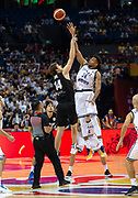 NANJING,CHINA:SEPTEMBER 5th 2019.FIBA World Cup Basketball 2019 Group phase match.Group F. New Zealand vs Greece.<br /> Center, Rob LOE (L) and Greece's Small Forward Giannis ANTETOKOUNMPO at the start of the game.<br /> Photo by Jayne Russell / www.PhotoSport.nz