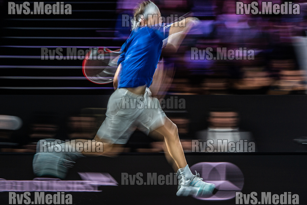 GENEVA, SWITZERLAND - SEPTEMBER 22: Dominic Thiem of Team Europe in action during Day 3 of the Laver Cup 2019 at Palexpo on September 20, 2019 in Geneva, Switzerland. The Laver Cup will see six players from the rest of the World competing against their counterparts from Europe. Team World is captained by John McEnroe and Team Europe is captained by Bjorn Borg. The tournament runs from September 20-22. (Photo by Robert Hradil/RvS.Media)