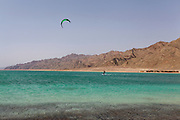 Kite surfing at the Blue Lagoon (Dahab), Sinai, Egypt