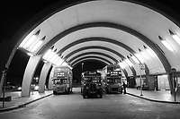 Vintage Buses in London at Night, Newbury Park Underground Station, London, UK, 08 September 2019, Photo by Richard Goldschmidt