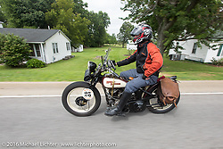 Scott Byrd riding his 1931 Harley-Davidson V during Stage 4 of the Motorcycle Cannonball Cross-Country Endurance Run, which on this day ran from Chatanooga to Clarksville, TN., USA. Monday, September 8, 2014.  Photography ©2014 Michael Lichter.
