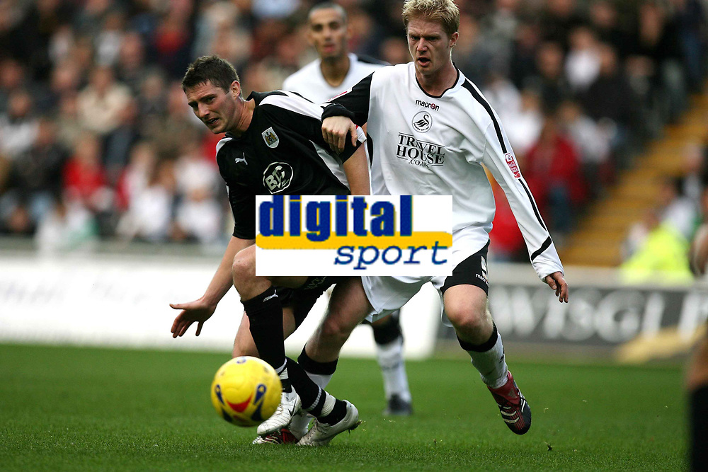 Photo: Rich Eaton.<br /> <br /> Swansea City v Bristol City. Coca Cola League 1. 26/11/2006. Phil Jevons #10 of Bristol and Alan Tate of Swansea