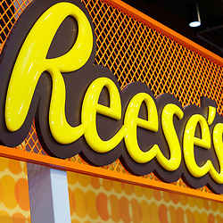 Hershey, PA / USA - November 26, 2019:  Reese's Peanut Butter Cups is featured and on display in Hershey's Chocolate World.