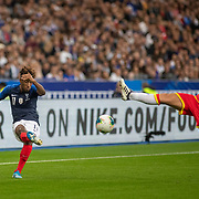 PARIS, FRANCE - September 10:  Kingsley Coman #11 of France puts in a cross defended by Márcio Vieira #8 of Andorra during the France V Andorra, UEFA European Championship 2020 Qualifying match at Stade de France on September 10th 2019 in Paris, France (Photo by Tim Clayton/Corbis via Getty Images)