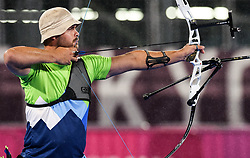 TOKYO, JAPAN - SEPTEMBER 03: Dejan Fabcic of Team Slovenia competes against Malk Szarszewski  of Germany in the Round of 16 at Men's archery Individual Recurve Open on Day 10 of the Tokyo 2020 Paralympic Games at Yumenoshima Park Archery on September 3, 2021 in Tokyo, Japan.  Photo by Vid Ponikvar / Sportida