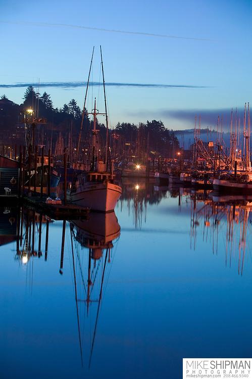 Sunrise with boats, Yaquina Bay Harbor, Newport,Oregon