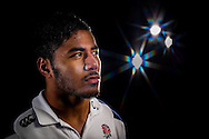 Manu Tuilagi of England looks on in a photoshoot after training at Pennyhill Park, Bagshot, Surrey on the 8th February 2013. (Photo by Andrew Tobin www.slikimages.com)