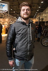 Ace assistant Nicola Bianconi at the Motor Bike Expo. Verona, Italy. January 24, 2016.  Photography ©2016 Michael Lichter.