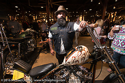 Stephen Bates with his custom Harley-Davidson Panhead at the Friday night grand opening of the Handbuilt Motorcycle Show. Austin, TX, USA. April 8, 2016.  Photography ©2016 Michael Lichter.