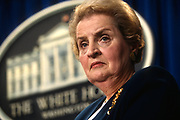 WASHINGTON, DC, USA - 1997/03/18: U.S. Secretary of State Madeleine Albright during a briefing on proposed NATO expansion at the White House March 18, 1997 in Washington, DC.     (Photo by Richard Ellis)