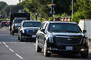 A cavalcade of vehicles led by the two Cadillacs known as the Beast leaves Windsor Castle following President Bidens visit on 13th June 2021 in Windsor, United Kingdom. President Biden and First Lady Jill Biden were welcomed by the Queen at Windsor Castle following the G7 summit with a Guard of Honour followed by afternoon tea.