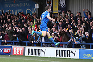 AFC Wimbledon defender Jon Meades (3) celebrating after scoring goal to make it 2-1 during the EFL Sky Bet League 1 match between AFC Wimbledon and Oxford United at the Cherry Red Records Stadium, Kingston, England on 10 March 2018. Picture by Matthew Redman.