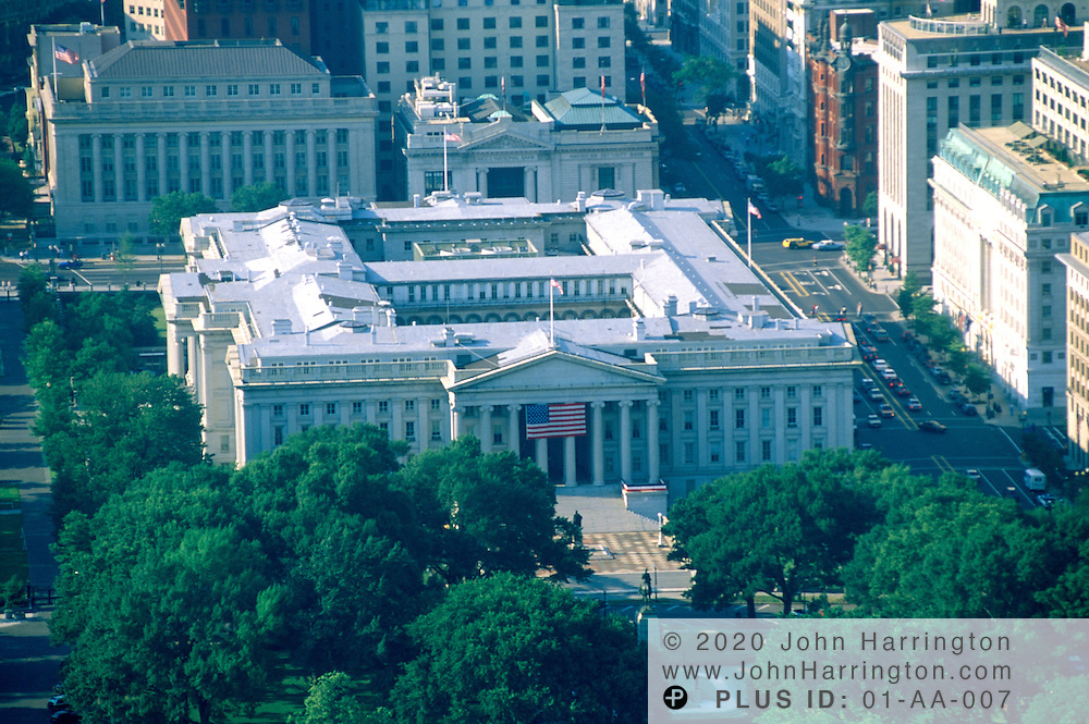 Aerial view of the US Department of the Treasury.