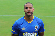 AFC Wimbledon striker Tyrone Barnet at AFC Wimbledon Team Photo 02AUG16 at the Cherry Red Records Stadium, Kingston, England on 2 August 2016. Photo by Stuart Butcher.