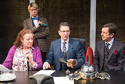 "© Licensed to London News Pictures. 16/04/2015. London, England. L-R: Clare Higgins, John Atterbury, Greg Hicks and Peter Bourke. Arcola Theatre presents the World Premiere of the Fleet Street comedy ""Clarion"" by Mark Jagasia. The play is directed by Mehmet Ergen with Greg Hicks as power-crazed editor Morris Honeyspoon and Clare Higgins as washed-up journalist Verity Stokes. ""Clarion"" runs at the Arcola from 15 April to 16 May 2015. Photo credit: Bettina Strenske/LNP"