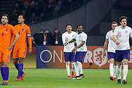 England midfielder Jesse Lingard celebrates his goal 0-1 with and congratulated by England Danny Rose  during the Friendly match between Netherlands and England at the Amsterdam Arena, Amsterdam, Netherlands on 23 March 2018. Picture by Phil Duncan.