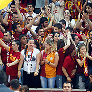 Galatasaray's supporters during their Turkish Basketball league Play Off Final Sixth leg match Galatasaray between Fenerbahce Ulker at the Abdi Ipekci Arena in Istanbul Turkey on Friday 17 June 2011. Photo by TURKPIX