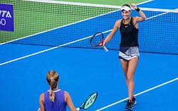 PORTOROZ, SLOVENIA - SEPTEMBER 18: Anna<br /> Kalinskaya and Tereza Mihalikova celebrate their win of double finals of WTA 250 Zavarovalnica Sava Portoroz at SRC Marina, on September 19, 2021 in Portoroz / Portorose, Slovenia. Photo by Nik Moder / Sportida