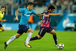 August 24, 2017 - Saint Petersburg, Russia - Leandro Paredes (L) of FC Zenit Saint Petersburg and Yassin Ayoub of FC Utrecht vie for the ball during the UEFA Europa League play-off round second leg match between FC Zenit St. Petersburg and FC Utrecht at Saint Petersburg Stadium on August 24, 2017 in Saint Petersburg, Russia. (Credit Image: © Mike Kireev/NurPhoto via ZUMA Press)