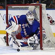 Henrik Lundqvist, New York Rangers, in action during the New York Rangers Vs Philadelphia Flyers, NHL regular season game at Madison Square Garden, New York, USA. 26th March 2014. Photo Tim Clayton