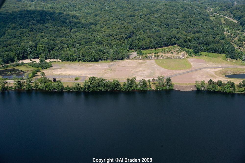 Aerial of former Connecticut Yankee nuclear power plant site along the Connecticut River,  East Haddam, CT