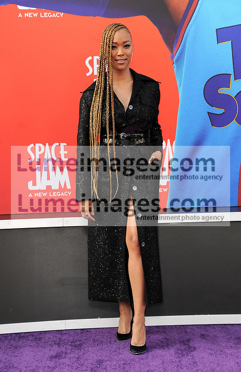 Sonequa Martin-Green at the Los Angeles premiere of 'Space Jam: A New Legacy' held at the Regal LA Live in Los Angeles on July 12, 2021.