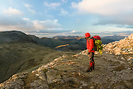 """The """"ledge"""" overlooking Esk Hause on the descent from Esk Pike"""