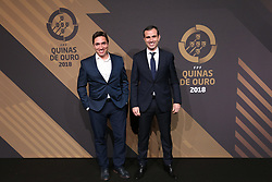 March 19, 2018 - Lisbon, Lisbon, Portugal - Pedro Pauleta (R) and Rui Jorge (L) poses on arrival at 'Quinas de Ouro' 2018 ceremony held and the Pavilhao Carlos Lopes in Lisbon, on March 19, 2018. (Credit Image: © Dpi/NurPhoto via ZUMA Press)