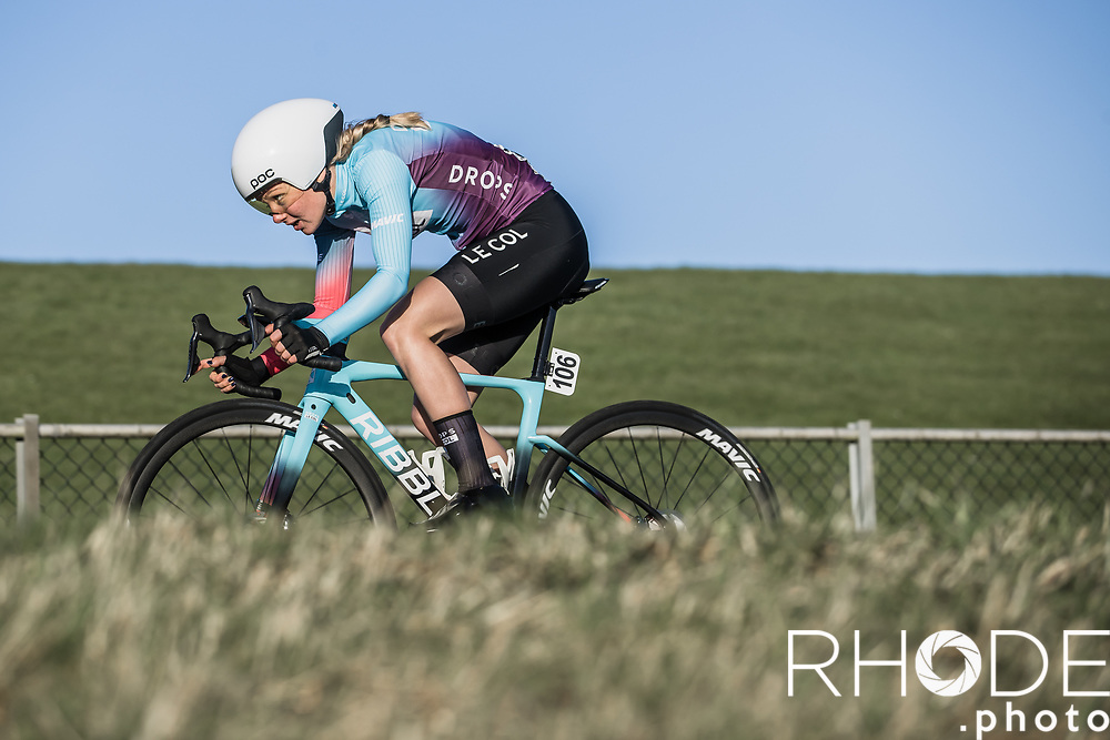 Maike van der Duin (NED/Drops Le Col)<br /> <br /> Healthy Ageing Tour (NED) 2021<br /> UCI Women Elite 2.1<br /> Stage 2 : Individual Time Trial (ITT) – Lauwersoog – Het Hoogeland 14.4km<br /> <br /> ©RhodePhoto