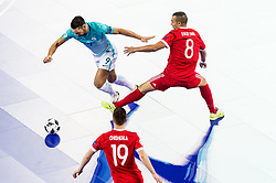 Gasper Vrhovec of Slovenia vs Eder Lima of Russia during futsal quarterfinal match between National teams of Slovenia and Russia at Day 7 of UEFA Futsal EURO 2018, on February 5, 2018 in Arena Stozice, Ljubljana, Slovenia. Photo by Vid Ponikvar / Sportida