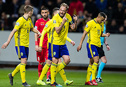 March 23, 2019 - Stockholm, SWEDEN - 190323 Ludwig Augustinsson, Andreas Granqvist and Robin Quaison of Sweden during the UEFA Euro Qualifier football match between Sweden and Romania on March 23, 2019 in Stockholm. (Credit Image: © Andreas L Eriksson/Bildbyran via ZUMA Press)