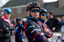 Tiffany Cromwell waits to sign on at Drentse 8 van Westerveld 2018 - a 142 km road race on March 9, 2018, in Dwingeloo, Netherlands. (Photo by Sean Robinson/Velofocus.com)