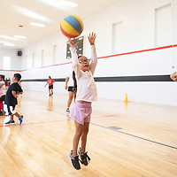 Meadow Herrera, 4, takes a shot under the basket during a shooting drill Thursday morning at St. Michael Indian School summer basketball Cardinal Camp in St. Michaels, Arizona.