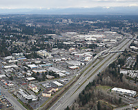 Aerial view of Alderwood Mall and surrounding commercial-residential zone, along I-5, in Lynnwood, Washington.