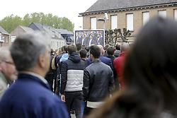 April 24, 2018 - Heist-Op-Den-Berg, FRANCE - People gather outside for the funeral ceremony for cyclist Michael Goolaerts, Tuesday 24 April 2018 in Hallaar, Heist-Op-Den-Berg. Michael Goolaerts died after a crash in the Paris-Roubaix race on Sunday 8 April 2018, he was 23 years old. BELGA PHOTO DIRK WAEM (Credit Image: © Dirk Waem/Belga via ZUMA Press)