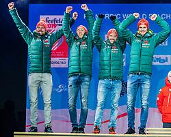 02.03.2019, Seefeld, AUT, FIS Weltmeisterschaften Ski Nordisch, Seefeld 2019, Siegerehrung, im Bild Silbermedaillengewinner Vinzenz Geiger (GER), Eric Frenzel (GER), Johannes Rydzek (GER), Fabian Riessle (GER) // Silver medalist Vinzenz Geiger Eric Frenzel Johannes Rydzek Fabian Riessle of Germany during the winner Ceremony for the FIS Nordic Ski World Championships 2019. Seefeld, Austria on 2019/03/02. EXPA Pictures © 2019, PhotoCredit: EXPA/ Stefan Adelsberger