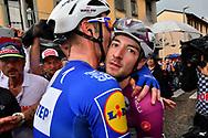 Arrival Elia Viviani (ITA - QuickStep - Floors) - Fabio Sabatini (ITA - QuickStep - Floors) celebration during the 101th Tour of Italy, Giro d'Italia 2018, stage 17, Riva del Garda - Iseo 155 km on May 23, 2018 in Italy - Photo Roberto Bettini / BettiniPhoto / ProSportsImages / DPPI
